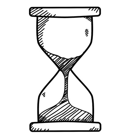 Sand clock in doodle sketch style