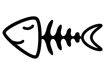 fish with bone isolated on white background