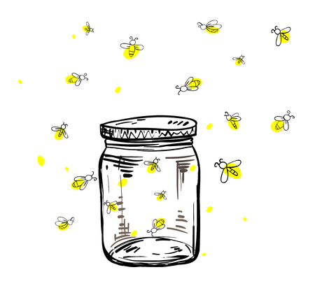 fireflies flying around the jar in hand drawing Vetores
