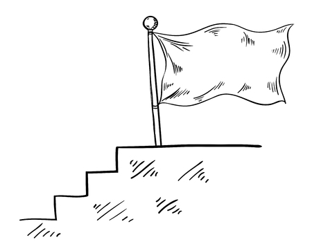 achieve goal: flag hand drawn in the business concept to achieve the goal