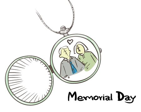 Memorial locket with couple picture in love.