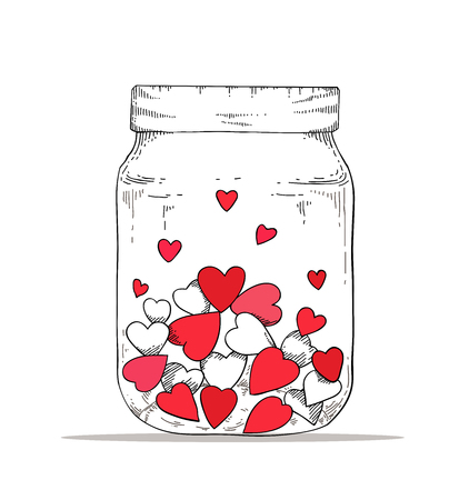 Bottle contain with red heart in hand drawing style. Illustration