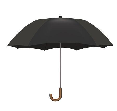 Black umbrella on white background. Çizim