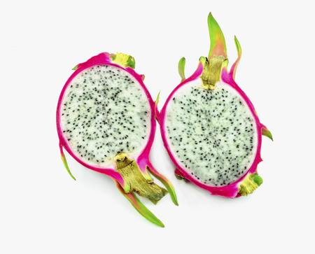 dragon fruit cutting in two side on white background