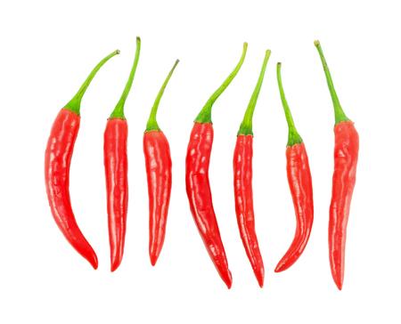 Satz isolierte Chilischote auf weißem Hintergrund Standard-Bild