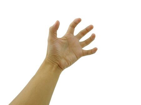 hand gesturing in tension on white background with clipping path