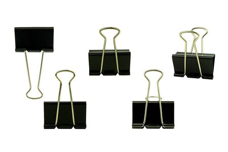 black paper clip clipping path on white background Stock Photo