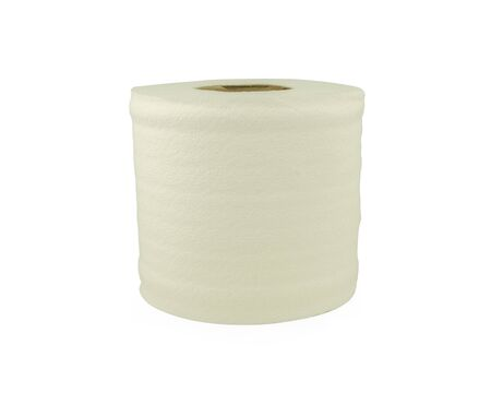 single paper tissue roll on white background with clipping path