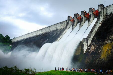 the cement dam release water overflow in thailand