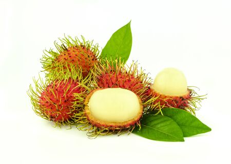 close up rambutan fruit on whit background