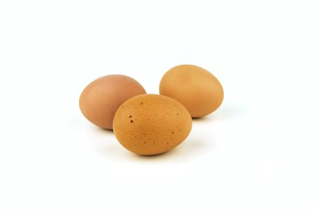 group of chicken egg on white background