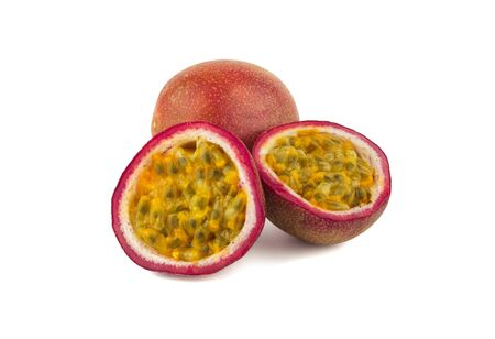 passion fruit in purple color on white background