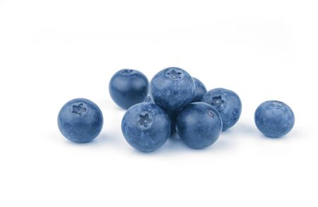 pile of fresh blueberry fruit on white background Stock Photo