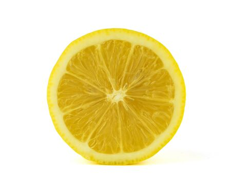 close up lemon slice on white background Stock Photo