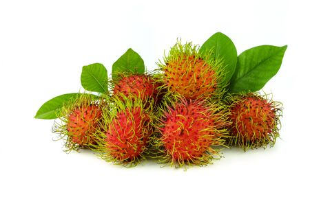 fresh rambutan fruit with leaf on white background