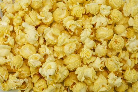 heap of salty popcorn background in big size Stock Photo