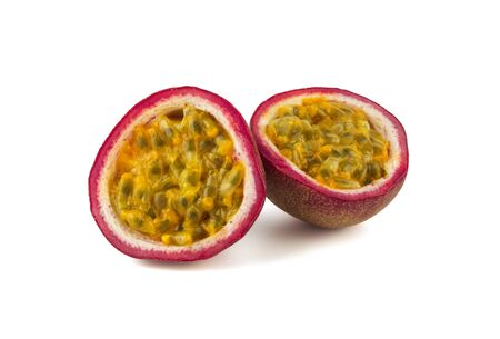 juicy ripe passion fruit on white background