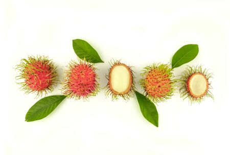 rambutan fruit concept with leaves on white background