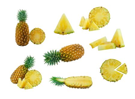 set of different pineapple position isolated on white background