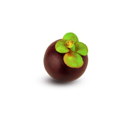single purple mangosteen fruit on the white background Stock Photo