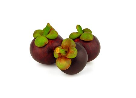 three ripe mangosteen fruit on white background