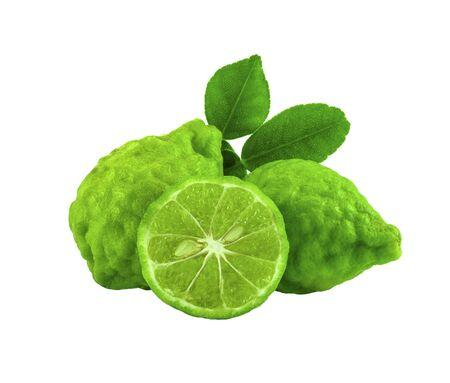 bergamot fruit with leaf on white background