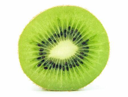 close up slice kiwi fruit on white background