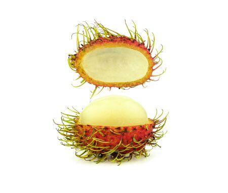 cutting opened rambutan on white background Stock Photo - 132135528