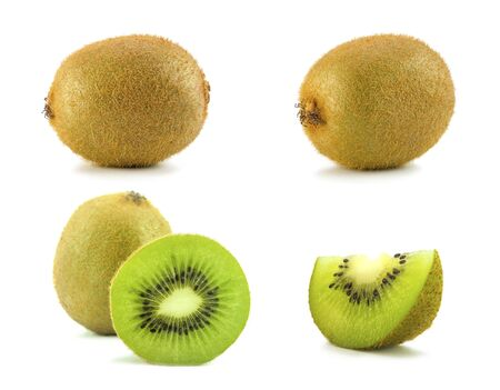 fresh kiwi fruit collection on white background Stock Photo