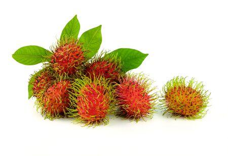 fresh rambutan or tropical asia fruit on white background Stock Photo