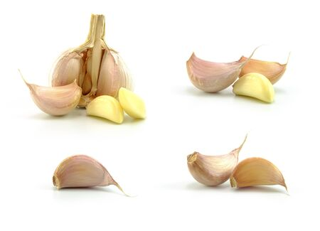 garlic collection in different type on white background Stock Photo