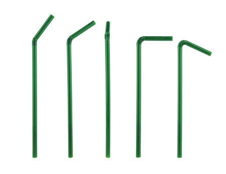 green plastic straws drinking isolated in differant on white background Stock Photo