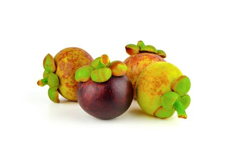 group of mangosteen on white background Stock Photo - 134864429