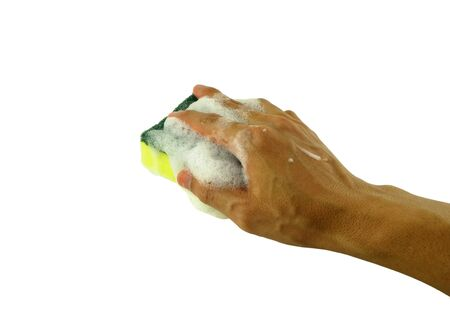 hand holding sponge with foam preparation for washing