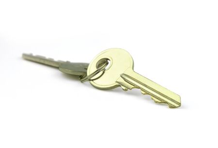 key ring and key in estate concept on white background Stock Photo - 134864472