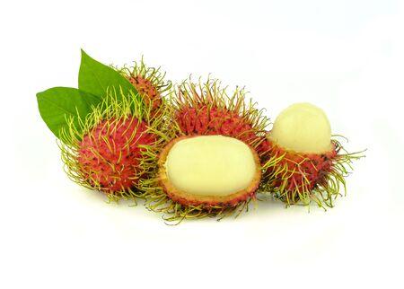 opened rambutan fruit or hairy fruit on white background Stock Photo