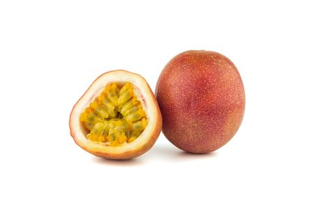 passion fruit and cutting in half seeing seed in sideon white background