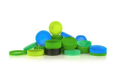 pile of  cap bottle for seal beverage drinking. Plastic caps Stock Photo