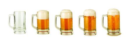 set of beer in mug isolated on white background Stock Photo
