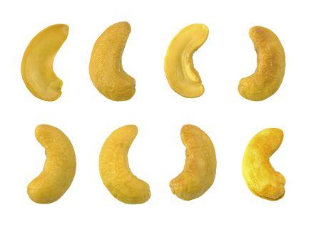 set of cashew nut seed isolated on white background
