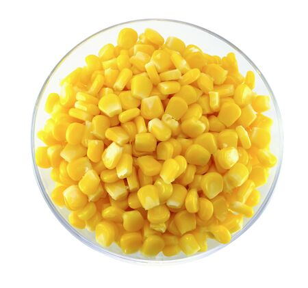 top view of corn on glass bowl isolated