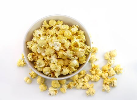 top view popcorn in bowl on white background