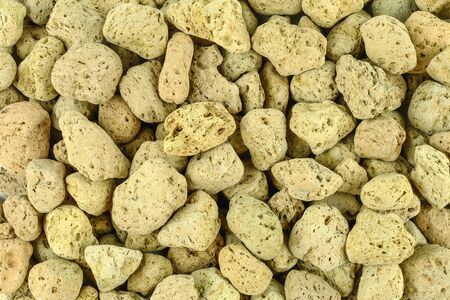 top view pumice stone surface background. use for fish tank filter Stock Photo - 132135280