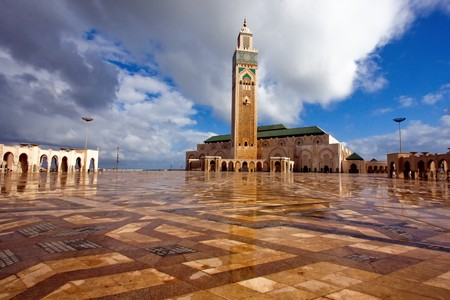 morocco: King Hassan Mosque in Morocco Editorial