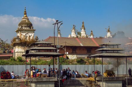 Kathmandu, Nepal - 11142017: Cremation at Pashupatinath Hindu Temple Editorial