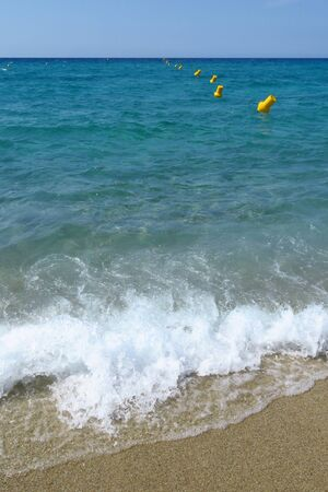 Yellow buoys in the sea Banque d'images