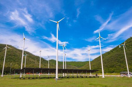 windy energy: windmill Stock Photo