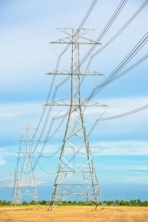 High voltage electric pole photo