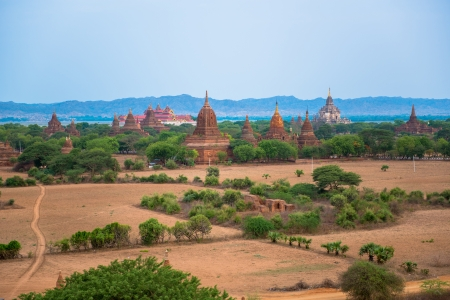 Panorama of Bagan with Irrawaddy river photo