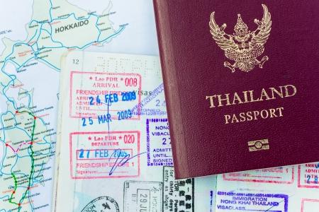 Passport and Japan visas photo